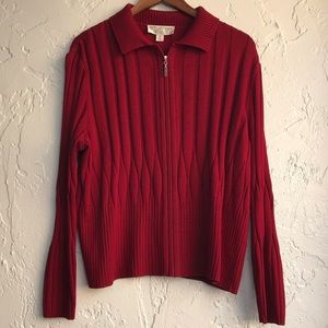 St John Collection Cable ZIP up Sweater
